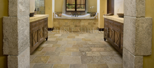Antique Limestone Floors the French Arcane stone collection by Ancient Surfaces.