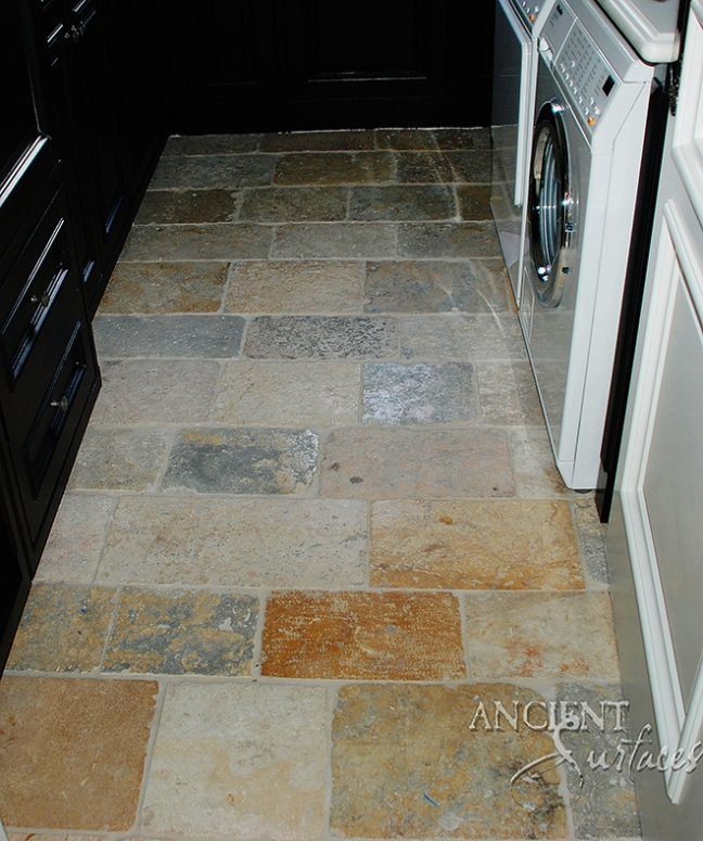 Antique french limestone floors by Ancient Surfaces.