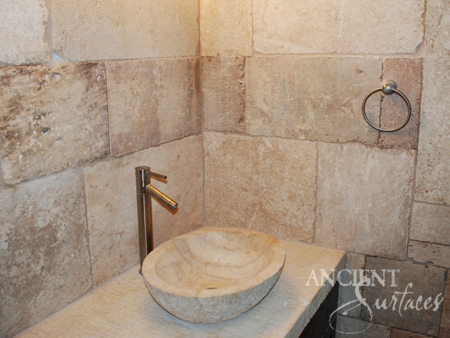 Antique Kronos French Limestone in a master bathroom