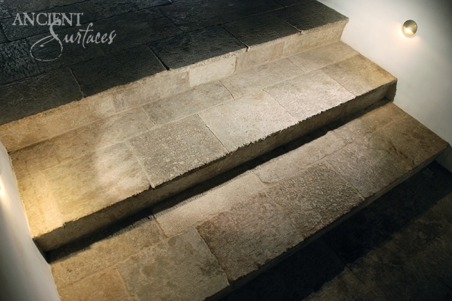 Antique Kronos French Limestone on a stairway