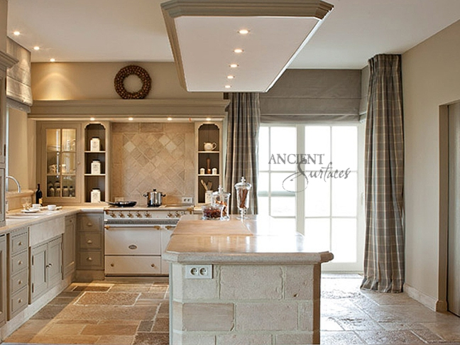 Antique Kronos French Limestone on a kitchen fkoor