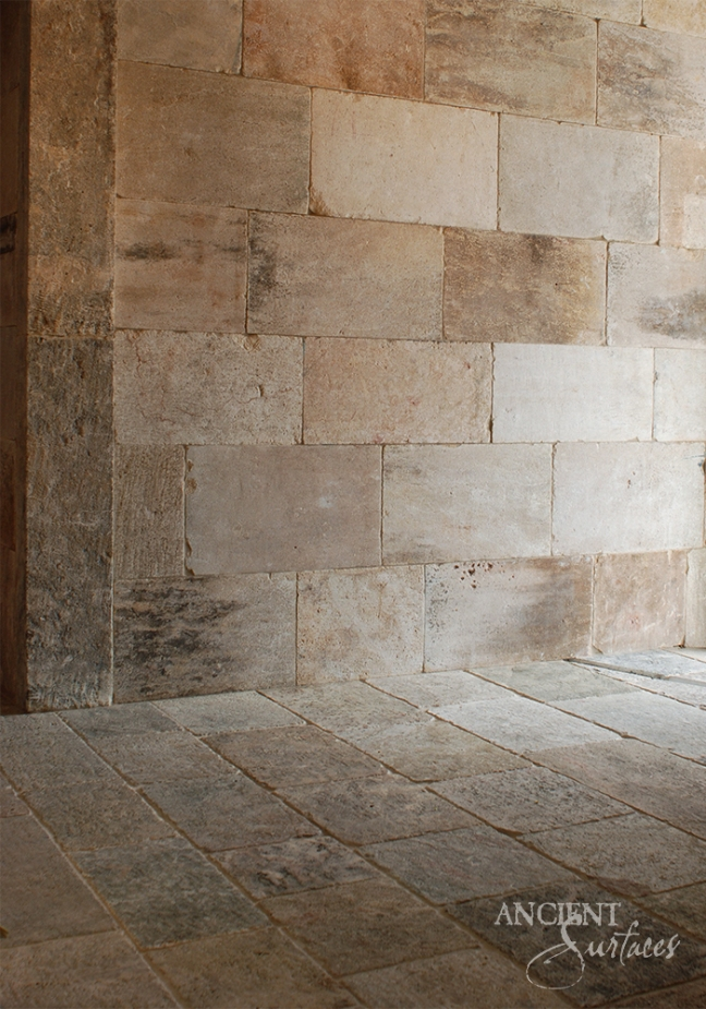 Antique Kronos French Limestone on the floors and walls