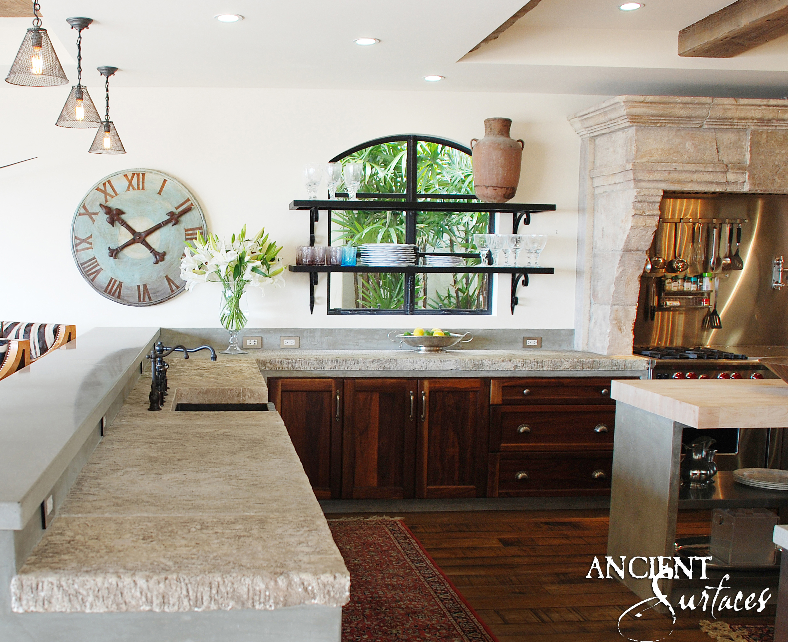 Kitchen To Living Room Antique Thick Reclaimed Limestone Foundation Slabs  For The Kitchen Countertops 3