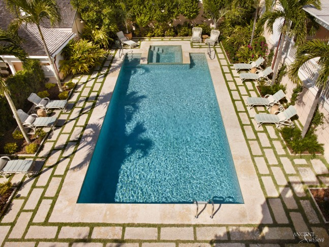 antique limestone pool coping